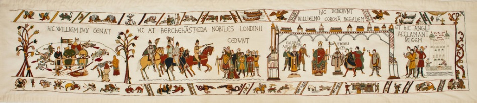 Alderney's completed Bayeux Tapestry Finale measures 3 metres in length and 50 cms in height. It took just 12 months to complete involving over 400 stitchers photograph by Jake Woodnut